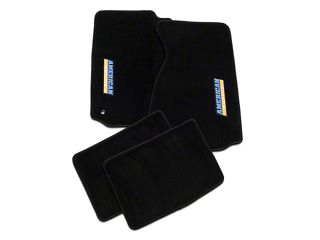 Alterum Front & Rear Floor Mats w/ AmericanMuscle Logo - Black (94-04 All)