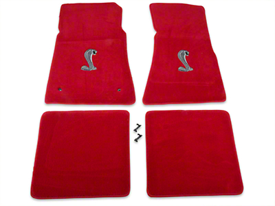 Lloyd Front & Rear Floor Mats w/ Cobra Logo - Red (79-93 All)