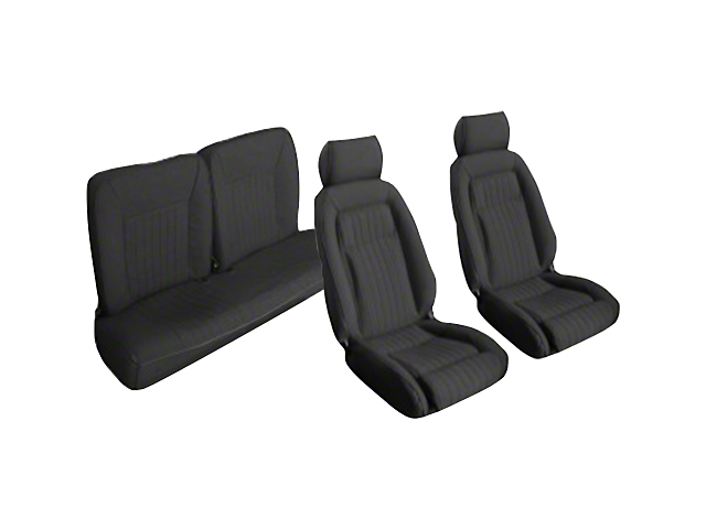 OPR Front and Rear Sport Seat Upholstery; Black (87-89 Hatchback)