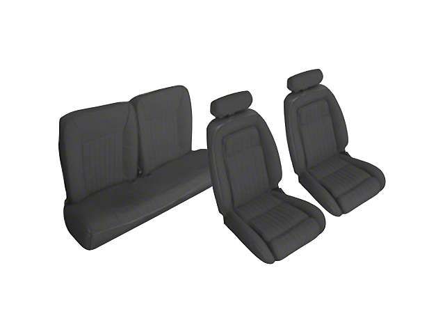OPR Front and Rear Sport Seat Upholstery; Black (90-91 Hatchback)