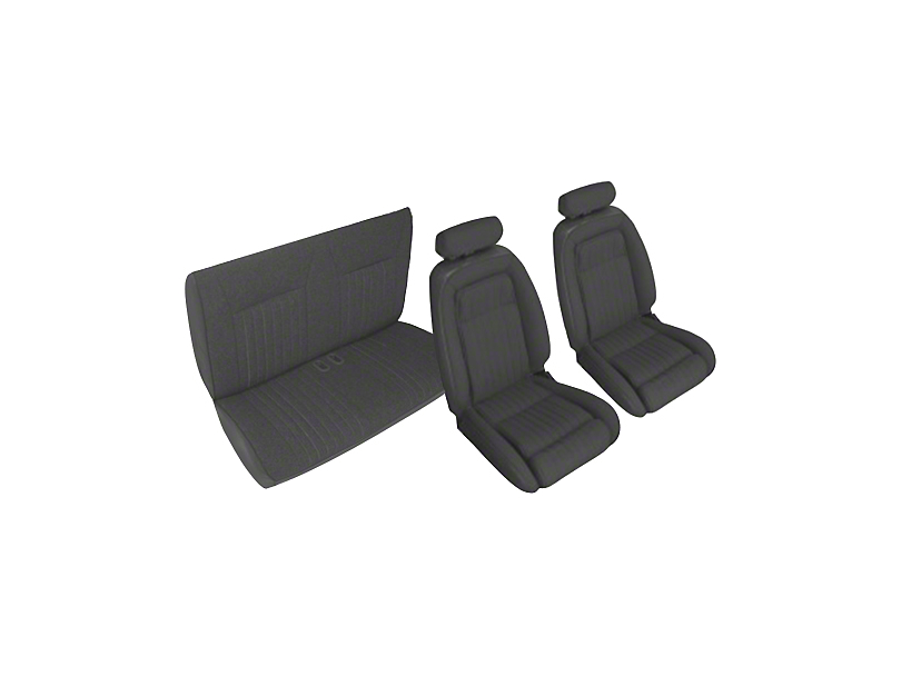 OPR Front and Rear Sport Seat Upholstery; Black (90-91 Convertible)