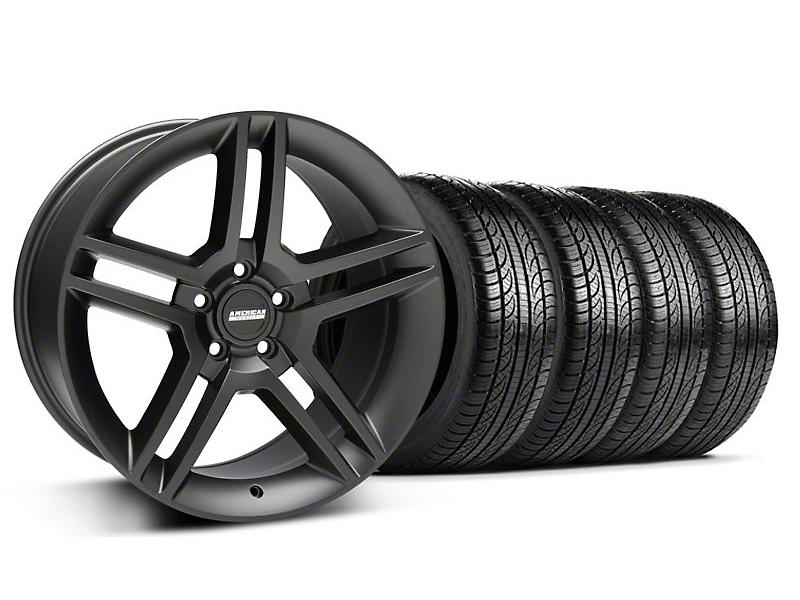 Staggered 2010 GT500 Style Matte Black Wheel & Pirelli Tire Kit - 19x8.5/10 (05-14 All)