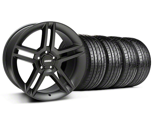 2010 GT500 Style Matte Black Wheel & Sumitomo Tire Kit; 19x8.5 (94-04 All)