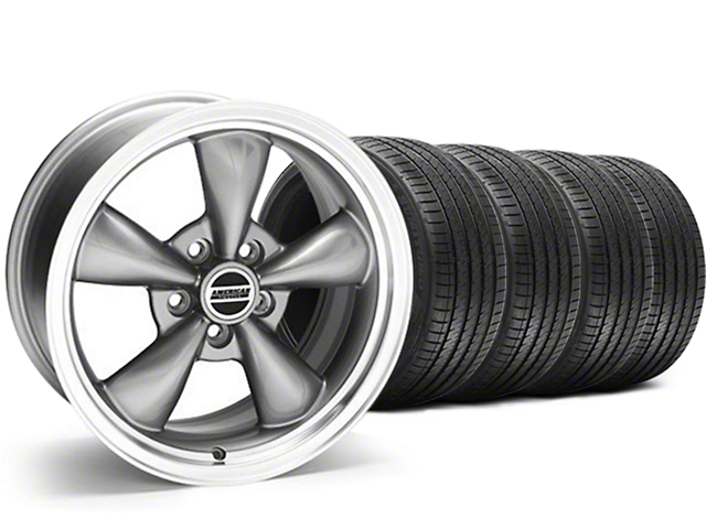 Staggered Bullitt Anthracite Wheel & Sumitomo Maximum Performance HTR Z5 Tire Kit - 18x9/10 (05-10 GT; 05-14 V6)