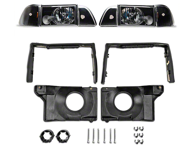 Axial Headlights with Adjusting Plate Kit; Black Housing; Clear Lens (87-93 All)