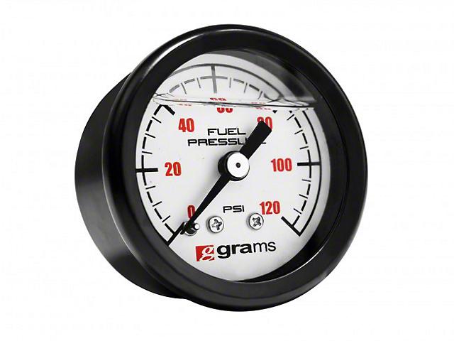 0-120 PSI Fuel Pressure Gauge; White (Universal Fitment)