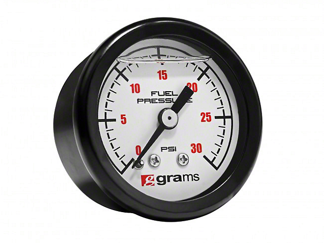 30 PSI Fuel Pressure Gauge; White (Universal Fitment)