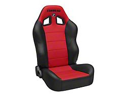 Corbeau Baja XRS Suspension Seats; Black Vinyl/Red HD Vinyl; Pair (Universal; Some Adaptation May Be Required)