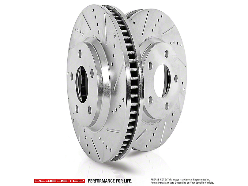 Power Stop Evolution Cross-Drilled and Slotted Rotors; Rear Pair (09-10 SE; 11-20 SE, SXT w/ Single Piston Front Calipers)