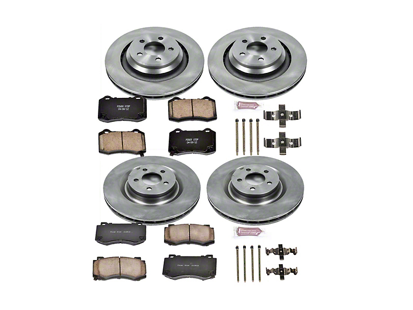 Power Stop OE Replacement Brake Rotor and Pad Kit; Front and Rear (08-14 SRT8; 15-16 Scat Pack; 2017 R/T 392; 18-20 w/ 4-Piston Front Calipers)
