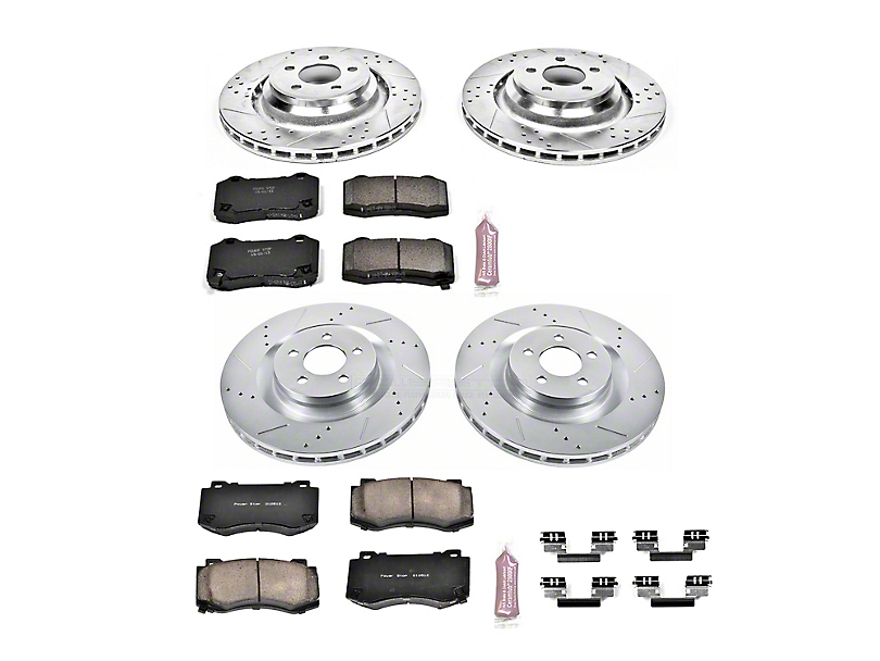 Power Stop Z23 Evolution Sport Brake Rotor and Pad Kit; Front and Rear (08-14 SRT8; 15-16 Scat Pack; 2017 R/T 392; 18-20 w/ 4-Piston Front Calipers)