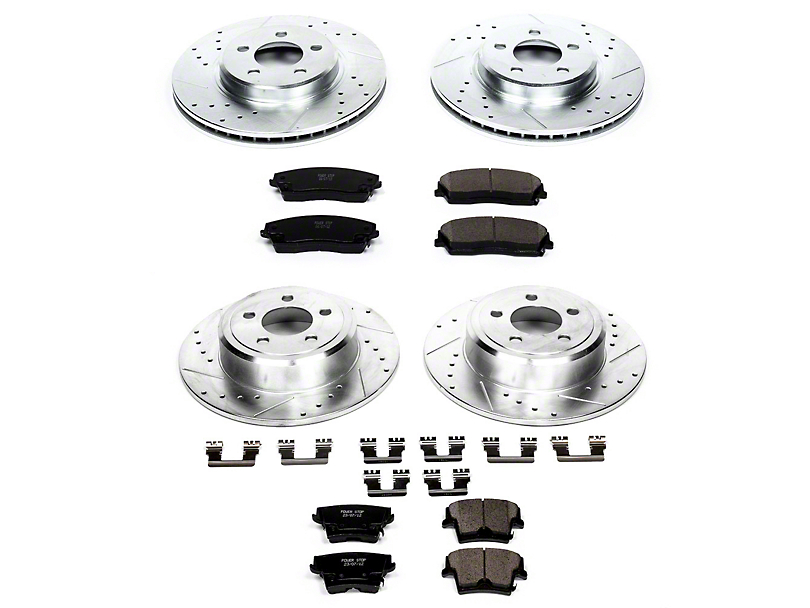 Power Stop Z23 Evolution Sport Brake Rotor and Pad Kit; Front and Rear (09-10 SE; 11-20 SE, SXT w/ Single Piston Front Calipers)