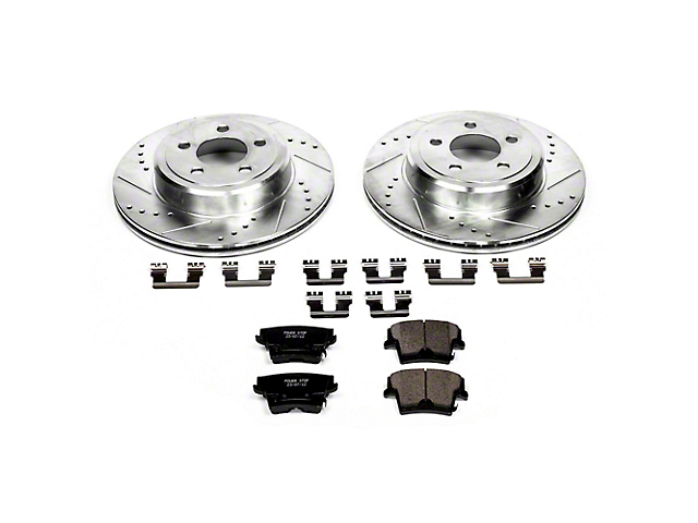 Power Stop Z23 Evolution Sport Brake Rotor and Pad Kit; Rear (09-20 GT, R/T, T/A; 11-20 SE, SXT w/ Dual Piston Front Calipers)