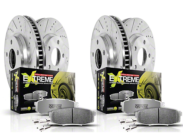 Power Stop Z26 Street Warrior Brake Rotor and Pad Kit; Front and Rear (15-20 SRT 392, Hellcat)