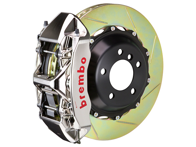 Brembo GT-R Series 6-Piston Front Big Brake Kit with 15-Inch 2-Piece Slotted Rotors; Nickel Plated Calipers (08-14 SRT8)