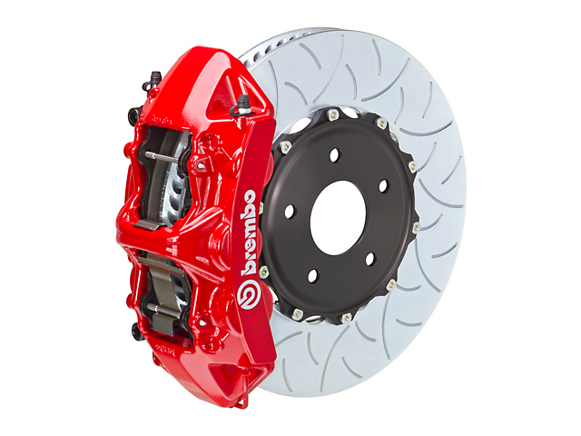 Brembo GT Series 6-Piston Front Big Brake Kit w/ 15 in. 2-Piece Type 3 Slotted Rotors - Red Calipers (08-14 SRT8)