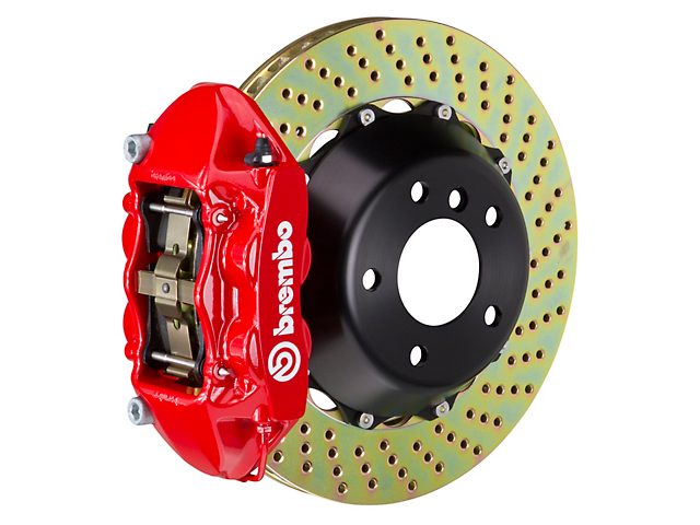 Brembo GT Series 4-Piston Rear Big Brake Kit with 15-Inch 2-Piece Cross-Drilled Rotors; Red Calipers (08-14 SRT8)