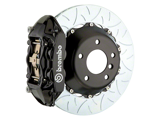 Brembo GT Series 4-Piston Rear Big Brake Kit with 15-Inch 2-Piece Type 3 Slotted Rotors; Black Calipers (08-14 SRT8)