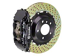 Brembo GT Series 4-Piston Front Big Brake Kit with 14-Inch 2-Piece Cross-Drilled Rotors; Black Calipers (06-10 All, Excluding AWD & SRT8)