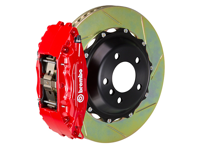 Brembo GT Series 4-Piston Front Big Brake Kit with 14-Inch 2-Piece Slotted Rotors; Red Calipers (09-10 R/T, SE)