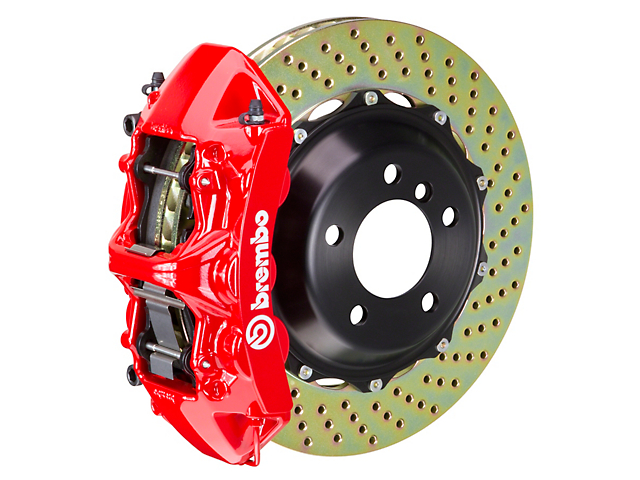 Brembo GT Series 6-Piston Front Big Brake Kit with 14-Inch 2-Piece Cross-Drilled Rotors; Red Calipers (11-20 All, Excluding 392, Scat Pack & SRT8)