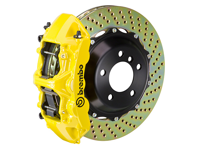 Brembo GT Series 6-Piston Front Big Brake Kit with 14-Inch 2-Piece Cross-Drilled Rotors; Yellow Calipers (11-20 All, Excluding 392, Scat Pack & SRT8)