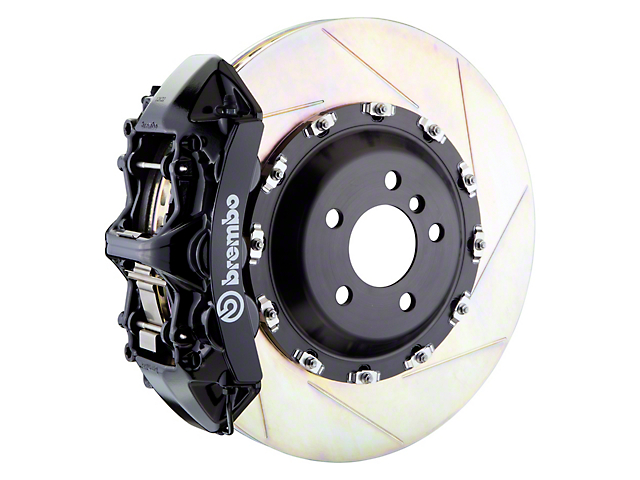 Brembo GT Series 6-Piston Front Big Brake Kit with 14-Inch 2-Piece Slotted Rotors; Black Calipers (11-20 All, Excluding 392, Scat Pack & SRT8)