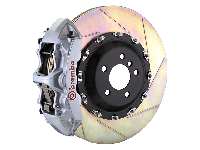 Brembo GT Series 6-Piston Front Big Brake Kit with 14-Inch 2-Piece Slotted Rotors; Silver Calipers (11-20 All, Excluding SRT8)