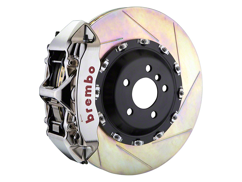 Brembo GT-R Series 6-Piston Front Big Brake Kit w/ 14 in. 2-Piece Slotted Rotors - Nickel Plated Calipers (11-20 All, Excluding SRT8)
