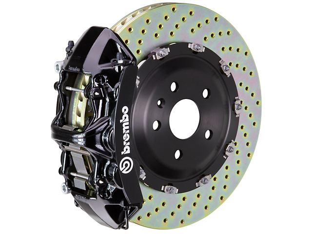 Brembo GT Series 6-Piston Front Big Brake Kit with 15-Inch 2-Piece Cross-Drilled Rotors; Black Calipers (11-20 V8 HEMI, Excluding 392, Scat Pack & SRT8)