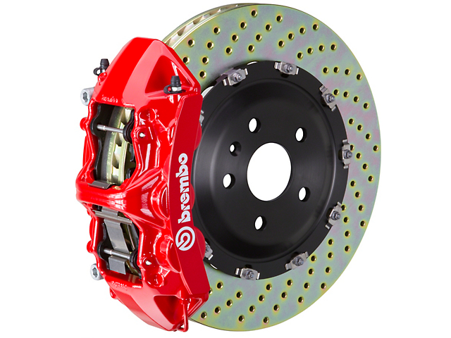 Brembo GT Series 6-Piston Front Big Brake Kit with 15-Inch 2-Piece Cross-Drilled Rotors; Red Calipers (11-20 V8 HEMI, Excluding 392, Scat Pack & SRT8)