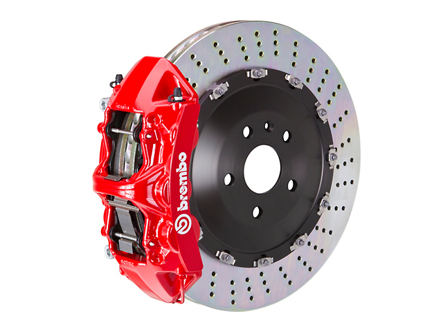 Brembo GT Series 6-Piston Front Big Brake Kit with 15-Inch 2-Piece Slotted Rotors; Red Calipers (11-20 V8 HEMI, Excluding 392, Scat Pack & SRT8)