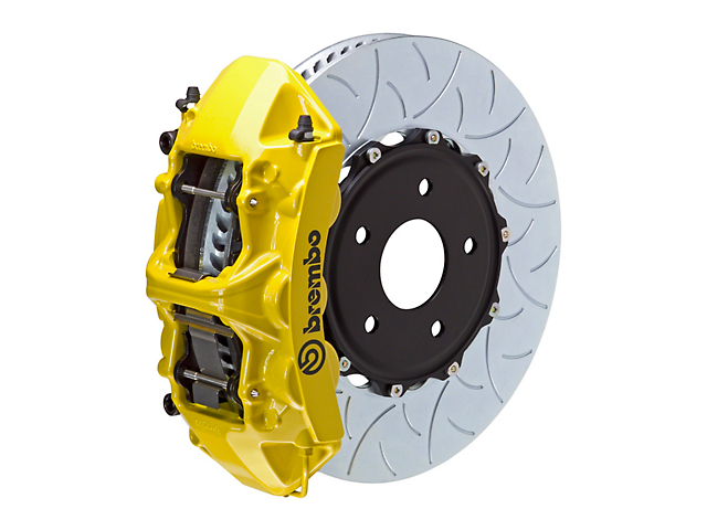 Brembo GT Series 6-Piston Front Big Brake Kit with 15-Inch 2-Piece Type 3 Slotted Rotors; Yellow Calipers (11-20 V8 HEMI, Excluding 392, Scat Pack & SRT8)