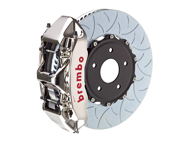 Brembo GT-R Series 6-Piston Front Big Brake Kit with 15-Inch 2-Piece Type 3 Slotted Rotors; Nickel Plated Calipers (11-20 V8 HEMI, Excluding SRT8)