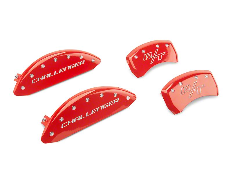 MGP Red Caliper Covers w/ Vintage Style R/T Logo - Front & Rear (11-20 R/T; 2014 Rallye Redline; 17-20 GT, T/A; 12-20 SXT w/ Dual Piston Front Caliper)