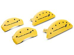 MGP Yellow Caliper Covers with Challenger Stripes Logo; Front and Rear (11-21 R/T; 2014 Rallye Redline; 17-21 GT, T/A; 12-21 SXT w/ Dual Piston Front Caliper)