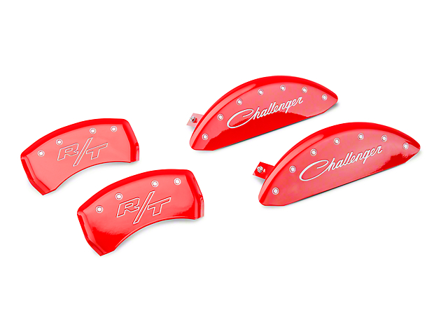 MGP Red Caliper Covers with Cursive Challenger and R/T Logos; Front and Rear (11-20 R/T; 2014 Rallye Redline; 17-20 GT, T/A; 12-20 SXT w/ Dual Piston Front Caliper)