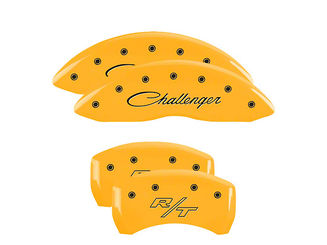 MGP Yellow Caliper Covers with Cursive Challenger and R/T Logos; Front and Rear (11-20 R/T; 2014 Rallye Redline; 17-20 GT, T/A; 12-20 SXT w/ Dual Piston Front Caliper)