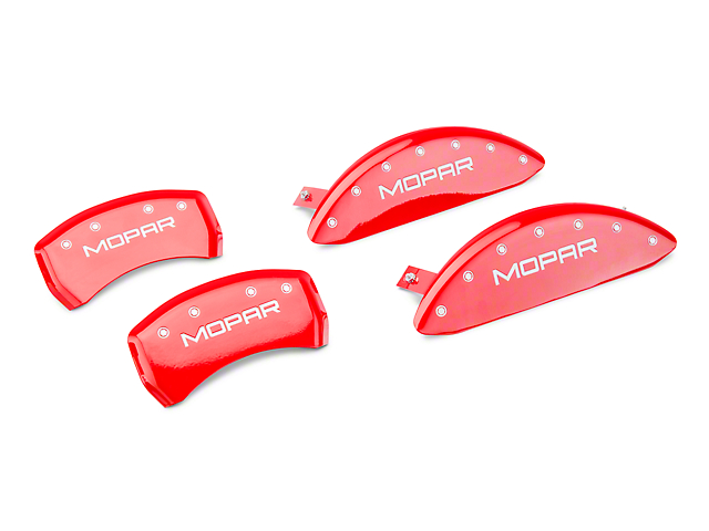MGP Red Caliper Covers with MOPAR Logo; Front and Rear (11-20 R/T; 2014 Rallye Redline; 17-20 GT, T/A; 12-20 SXT w/ Dual Piston Front Caliper)