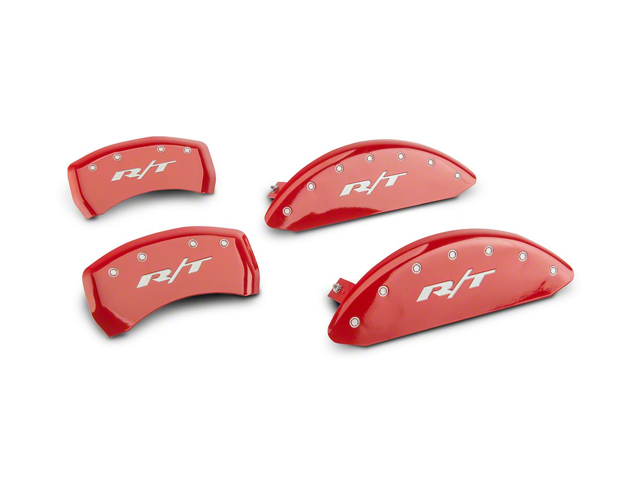 MGP Red Caliper Covers w/ R/T Logo - Front & Rear (11-19 R/T; 2014 Rallye Redline; 17-19 GT, T/A; 12-19 SXT w/ Dual Piston Front Caliper)