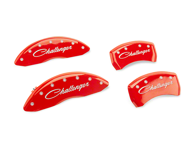 MGP Red Caliper Covers with Cursive Challenger Logo; Front and Rear (2011 SE; 12-20 SXT w/ Single Piston Front Caliper)