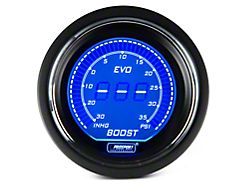 Prosport 52mm EVO Series Boost Gauge; Electrical; 35 PSI; Blue/Red (Universal; Some Adaptation May Be Required)