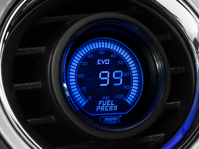 Prosport 52mm EVO Series Digital Fuel Pressure Gauge; Electrical; Blue/Red (Universal Fitment)