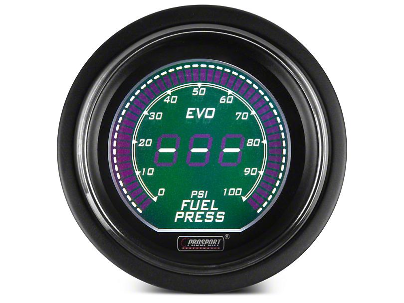 Prosport 52mm EVO Series Digital Fuel Pressure Gauge; Electrical; Green/White (Universal Fitment)