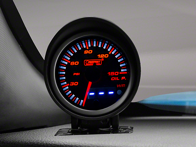 Prosport 60mm JDM Series Dual Display Oil Pressure Gauge; Electrical; Amber/White (Universal Fitment)