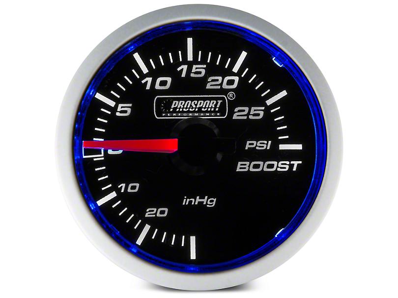 Prosport Dual Color 30 PSI Boost/Vac Gauge - Mechanical - Blue/White (Universal Fitment)