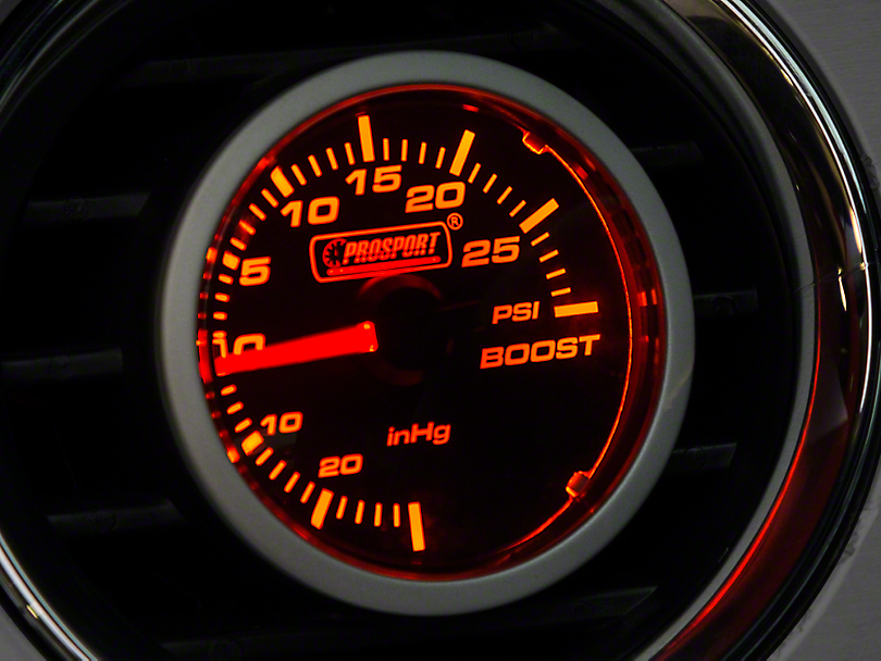Prosport 52mm Performance Series Boost Gauge; Mechanical; 30 PSI; Amber/White (Universal Fitment)