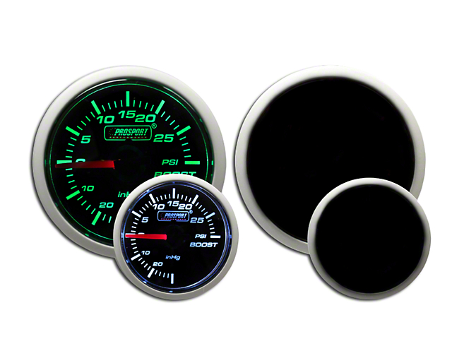 Prosport 52mm Performance Series Boost Gauge; Electrical; 30 PSI; Green/White (Universal Fitment)