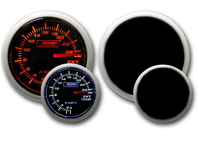 Prosport 52mm Performance Series Exhaust Gas Temperature Gauge; Electrical; Amber/White (Universal Fitment)