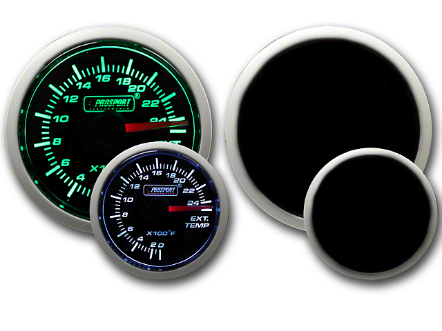 Prosport 52mm Performance Series Exhaust Gas Temperature Gauge; Green/White (Universal; Some Adaptation May Be Required)